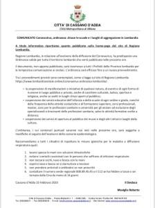 COMUNICATO DEL COMUNE DI CASSANO D'ADDA